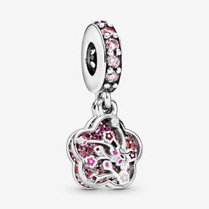 Pandora Pink Peach Blossom Flower Dangle Charm
